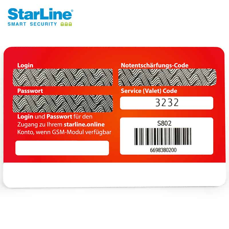 Starline Codekarte Security Codes